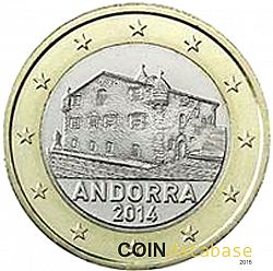 1 euro from year 2014 andorra euros the coin database. Black Bedroom Furniture Sets. Home Design Ideas