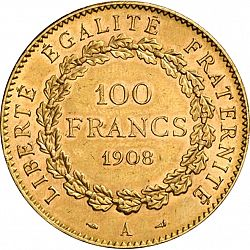 Large Reverse for 100 Francs 1908 coin