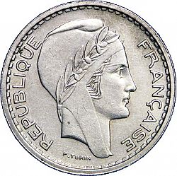 Large Obverse for 10 Francs 1949 coin