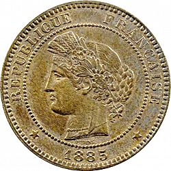 Large Obverse for 10 Centimes 1885 coin