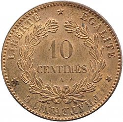Large Reverse for 10 Centimes 1872 coin