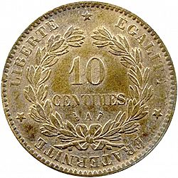 Large Reverse for 10 Centimes 1885 coin