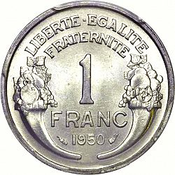 Large Reverse for 1 Franc 1950 coin