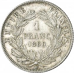 Large Reverse for 1 Franc 1860 coin
