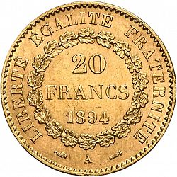 Large Reverse for 20 Francs 1894 coin