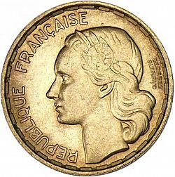 Large Obverse for 20 Francs 1950 coin