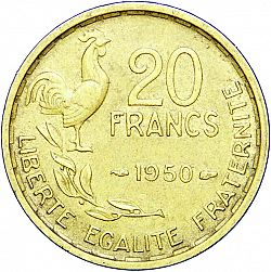 Large Reverse for 20 Francs 1950 coin