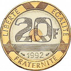 Large Reverse for 20 Francs 1992 coin