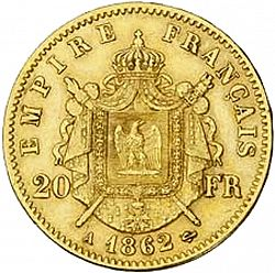 Large Reverse for 20 Francs 1862 coin