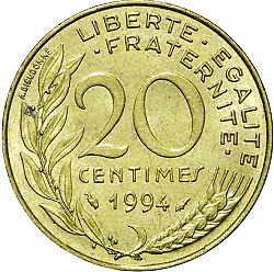 Large Reverse for 20 Centimes 1994 coin