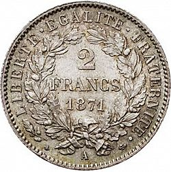 Large Reverse for 2 Francs 1871 coin