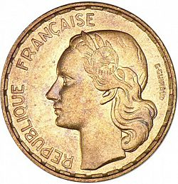 Large Obverse for 50 Francs 1954 coin