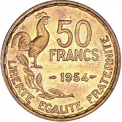Large Reverse for 50 Francs 1954 coin