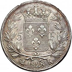 Large Reverse for 5 Francs 1828 coin