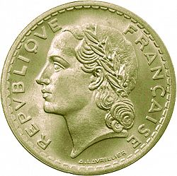 Large Obverse for 5 Francs 1946 coin