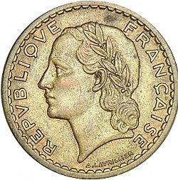 Large Obverse for 5 Francs 1947 coin