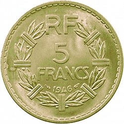 Large Reverse for 5 Francs 1946 coin