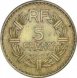 Large Reverse for 5 Francs 1947 coin