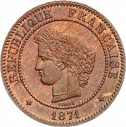 Large Obverse for 5 Centimes 1871 coin