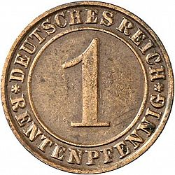 Large Obverse for 1 Pfenning 1929 coin