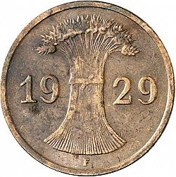 Large Reverse for 1 Pfenning 1929 coin