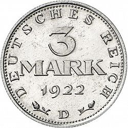 Large Obverse for 3 Mark 1922 coin
