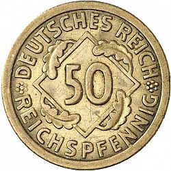 Large Obverse for 50 Pfenning 1924 coin