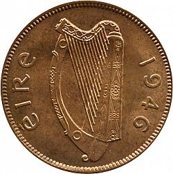 Large Obverse for 1/2d - Halfpenny 1946 coin