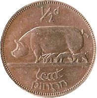 Large Reverse for 1/2d - Halfpenny 1933 coin