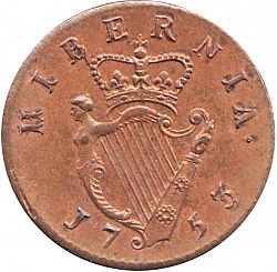 Large Reverse for Halfpenny 1753 coin