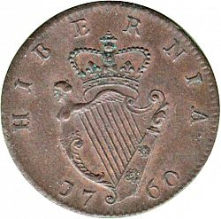 Large Reverse for Halfpenny 1760 coin