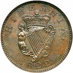Large Reverse for Halfpenny 1822 coin