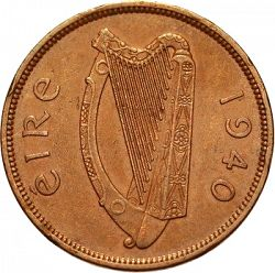 Large Obverse for 1d - Penny 1940 coin