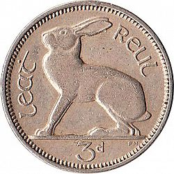 Large Reverse for 3d - 3 Pence 1961 coin