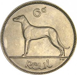 Large Reverse for 6d - 6 Pence 1955 coin
