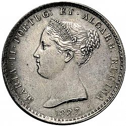Large Obverse for 1000 Réis ( 10 Tostôes ) 1837 coin