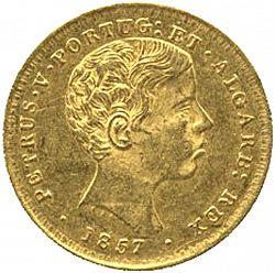 Large Obverse for 2000 Réis ( 1/5 Coroa ) 1857 coin