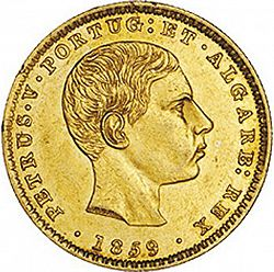 Large Obverse for 2000 Réis ( 1/5 Coroa ) 1859 coin