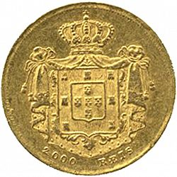 Large Reverse for 2000 Réis ( 1/5 Coroa ) 1857 coin