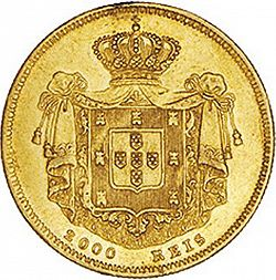 Large Reverse for 2000 Réis ( 1/5 Coroa ) 1859 coin