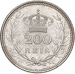Large Reverse for 200 Réis 1909 coin