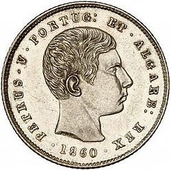 Large Obverse for 200 Réis ( 2 Tostôes ) 1860 coin