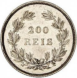 Large Reverse for 200 Réis ( 2 Tostôes ) 1860 coin