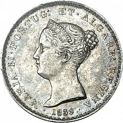 Large Obverse for 500 Réis ( 5 Tostôes ) 1839 coin