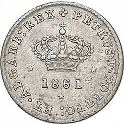 Large Obverse for 50 Réis ( Meio Tostâo ) 1861 coin