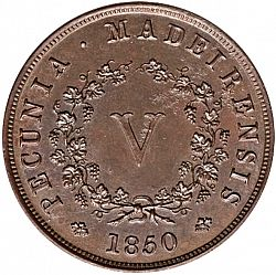 Large Reverse for 5 Réis 1850 coin