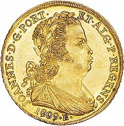 Large Obverse for 6400 Réis ( Peça ) 1809 coin