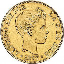 Large Obverse for 100 Pesetas 1897 coin
