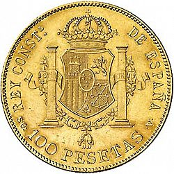 Large Reverse for 100 Pesetas 1897 coin