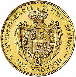 Large Reverse for 100 Pesetas 1871 coin